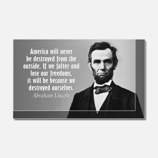 Lincoln Quote Aneruca Car Magnet 20 x 12