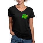 Shamrock Hat Women's V-Neck Dark T-Shirt