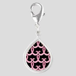 PinkRibbon365PBSq Silver Teardrop Charm
