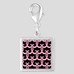 PinkRibbon365PBSq Silver Square Charm