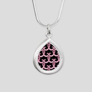 PinkRibbon365PBSq Silver Teardrop Necklace