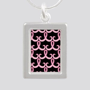 PinkRibbon365PBSq Silver Portrait Necklace
