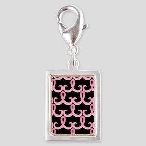 PinkRibbon365PBSq Silver Portrait Charm