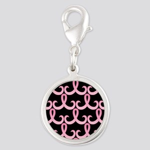 PinkRibbon365PBSq Silver Round Charm
