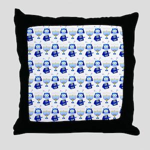 Hanukkah Owls, Dreidel, Menorah Throw Pillow