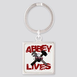 abbey_lives_white Square Keychain