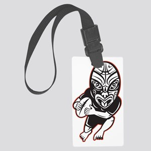 Rugby player running wearing Mao Large Luggage Tag