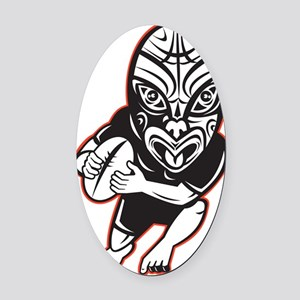 Rugby player running wearing Maori Oval Car Magnet