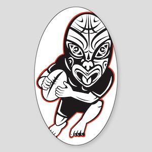 Rugby player running wearing Maori  Sticker (Oval)