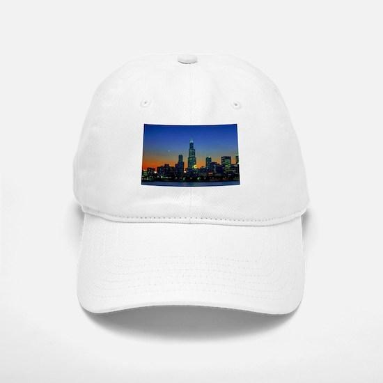 Chicago Framed In Sunset Baseball Baseball Cap