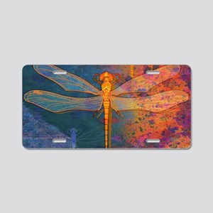 shoulderFlamingDragonfly Aluminum License Plate