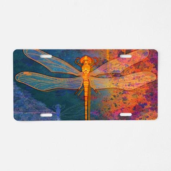 shoulderFlamingDragonfly Aluminum License Plate