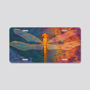 clutchFlamingDragonfly Aluminum License Plate
