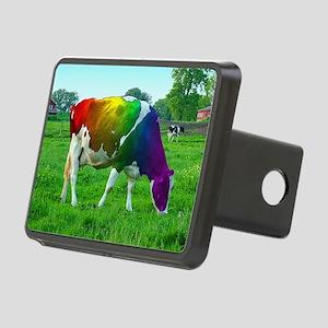 rainbow-cow_13-5x13-5 Rectangular Hitch Cover
