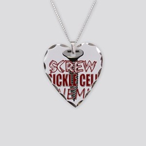 Screw Sickle Cell Anemia copy Necklace Heart Charm