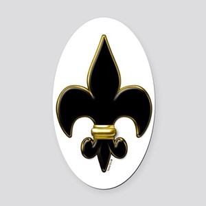 Fleur De Lis Black and Gold Oval Car Magnet