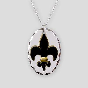 Fleur De Lis Black and Gold Necklace Oval Charm