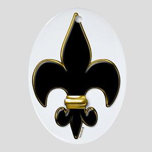 Fleur De Lis Black and Gold Oval Ornament