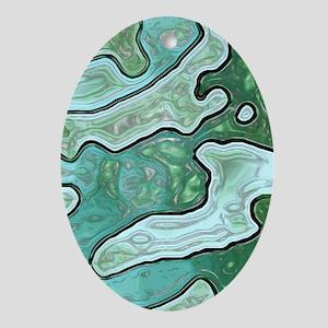 Mint Green Camo Oval Ornament