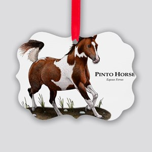 Pinto Horse Picture Ornament