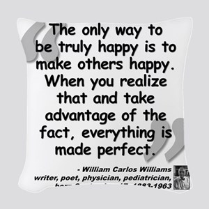 Williams Happy Quote Woven Throw Pillow