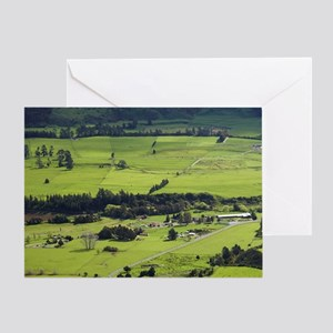 View over Farmland and Upper Takaka, Greeting Card