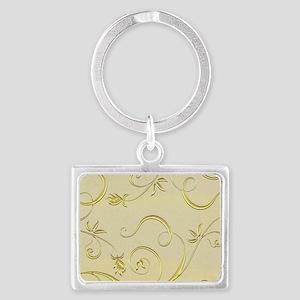 goldenfleurswirltb Landscape Keychain
