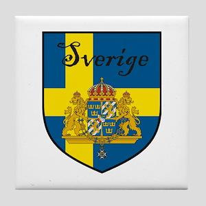 Sverige Flag Crest Shield Tile Coaster