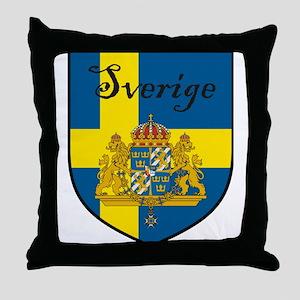 Sverige Flag Crest Shield Throw Pillow