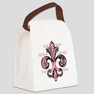 fleurPinkRibbonWdsTR Canvas Lunch Bag