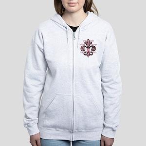 fleurPinkRibbonWdsTR Women's Zip Hoodie