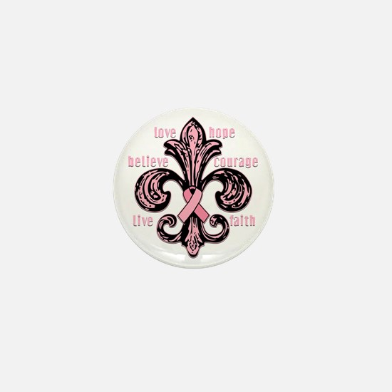 fleurPinkRibbonWdsTR Mini Button