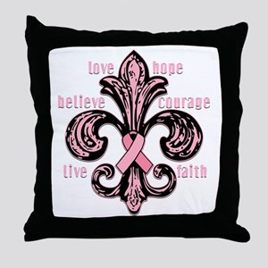 fleurPinkRibbonWdsTR Throw Pillow