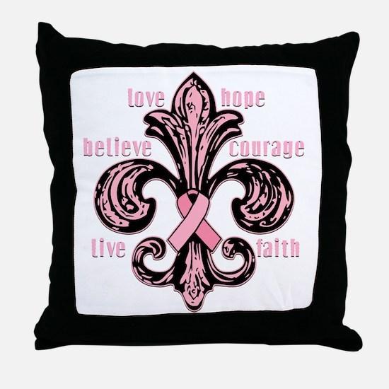 fleurPinkRibbonWdsTR Throw Pillow