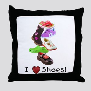 Little Girls love shoes too Throw Pillow