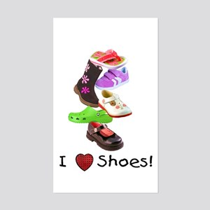 Little Girls love shoes too Rectangle Sticker