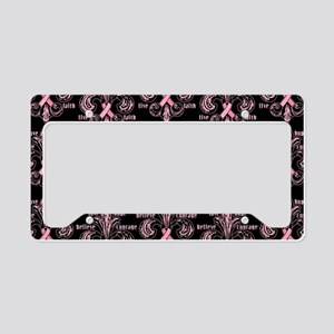 fleurPinkRibbonWBPBeBag License Plate Holder