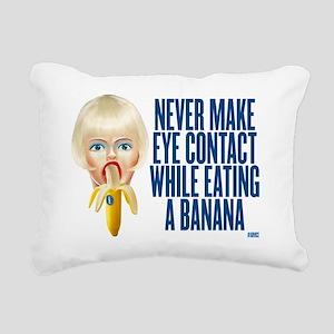never make eye contact w Rectangular Canvas Pillow