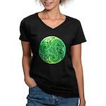 Celtic Triskele Women's V-Neck Dark T-Shirt