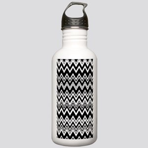 Black and White Zig Za Stainless Water Bottle 1.0L