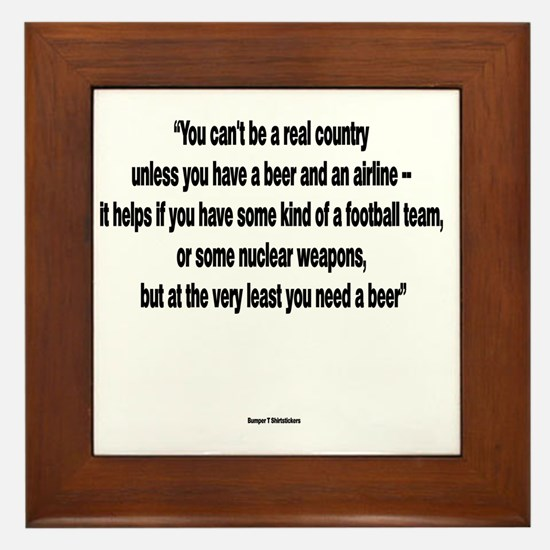 You Need a Beer - Frank Zappa Framed Tile