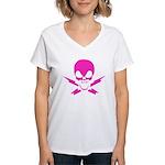 Lightning Bolt Jolly Roger Women's V-Neck T-Shirt