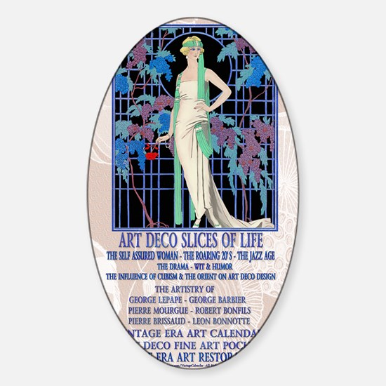 1 A V BARBIER ROSES NUIT ArtDecoSli Sticker (Oval)
