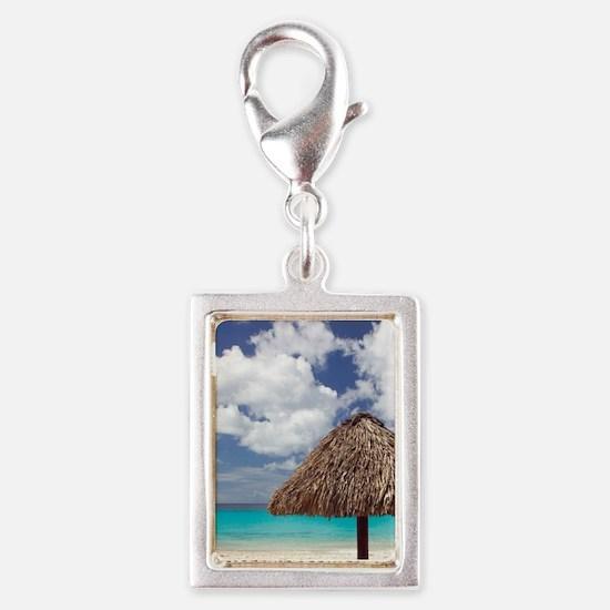 Kanepa: Beach Palapa / Playa Silver Portrait Charm