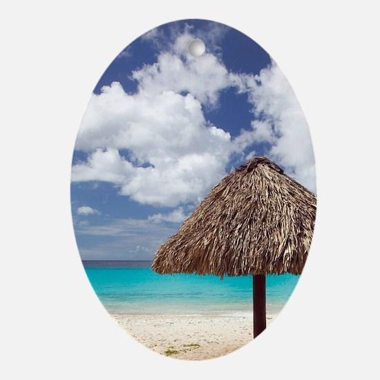 Kanepa: Beach Palapa / Playa Kanepa  Oval Ornament