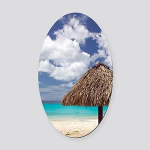 Kanepa: Beach Palapa / Playa Kanep Oval Car Magnet