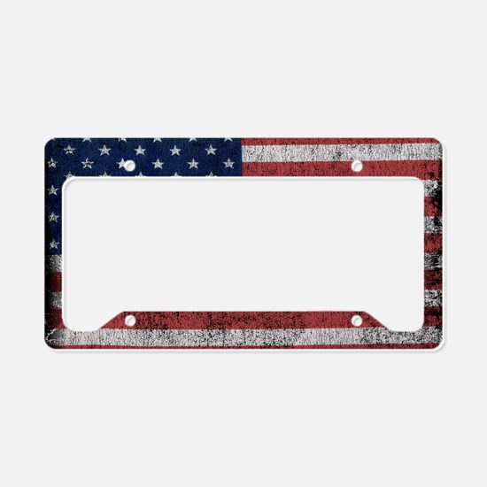 distressed-us-flag License Plate Holder
