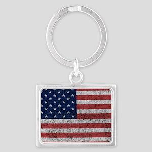 distressed-us-flag Landscape Keychain