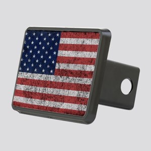 distressed-us-flag Rectangular Hitch Cover
