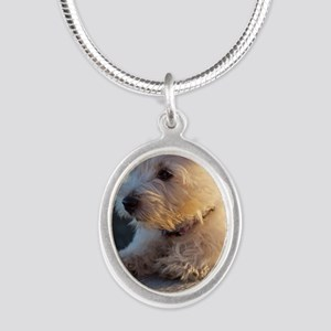 West Highland Terrier puppy o Silver Oval Necklace